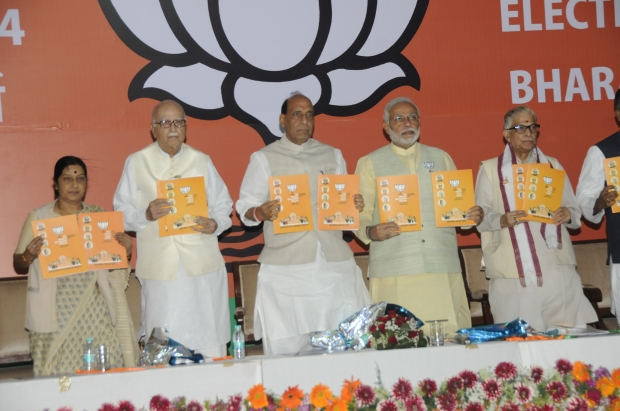 Senior leaders releasing  the BJP Manifesto for Lok Sabha Elections 2014 in New Delhi on April 07, 2014